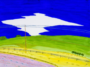 Spring Sky, North Dakota, Watercolor by Bro Halff, Size 12in x 16in, Price $900 (September 2017)
