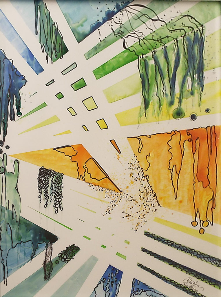 HONORABLE MENTION: Walkways II, Watercolor & Ink on YUPO by Rita Rose and Rae Rose, Size 23.5in x 17.5in, Framed 25.5in x 19.5in, Price $325 (September 2017)