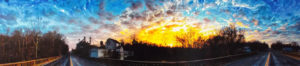Well Rounded Sunset, Digital Photography by Michael C. Habina, Size 8.25in x 37.5in, Framed 12in x 40in, Price $125 (September 2017)