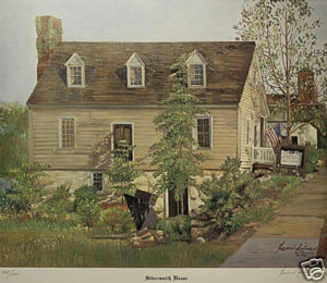 """A Limited Edition reproduction print by renowned artist Bueno Silva of the Historic Silversmith House. Silva created the original oil painting in 1987 to celebrate the 25th anniversary of the Fredericksburg Center for the Creative Arts (FCCA) which has been headquartered in the Silversmith House since 1962.   22 ½"""" wide x 19 ½"""" high"""