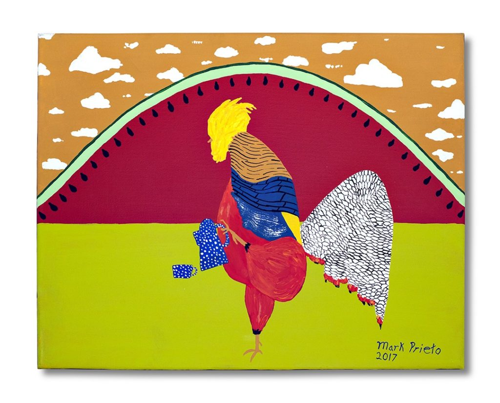 Watermelon Sunrise - Rooster with Blue Coffee Pot by Mark Prieto, 16x20 (MG: January 2018)