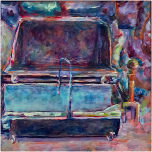 Colonial Hearth, Acrylic on Stretched Canvas by Elizabeth Shumate, 10in x 10in, $275 (April 2018)