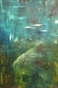 In the Mist, Acrylic on Canvas by Rita Rose and Rae Rose, 36in x 24in, $380 (April 2018)