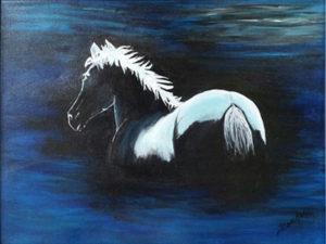 Midnight Swim, Acrylics by Jane Cariker, 12in x 16in, $80 (April 2018)