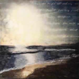 Pacificatory, Mixed Media Encaustic by Sasha Leigh, 16in x 16in, $145 (April 2018)
