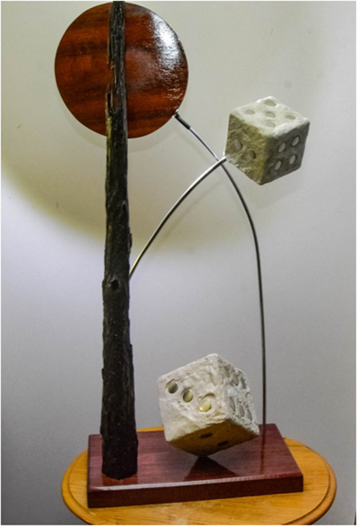 HONORABLE MENTION: Quantum Conundrum, Sculpture & Mixed Media by Addison Likins, 44in x 12in x 20in, $1200 (April 2018)
