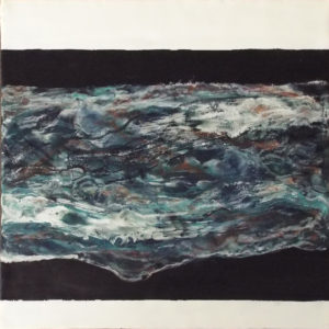 Spill, Mixed Media Encaustic by Sasha Leigh, 12in x 12in, $80 (April 2018)