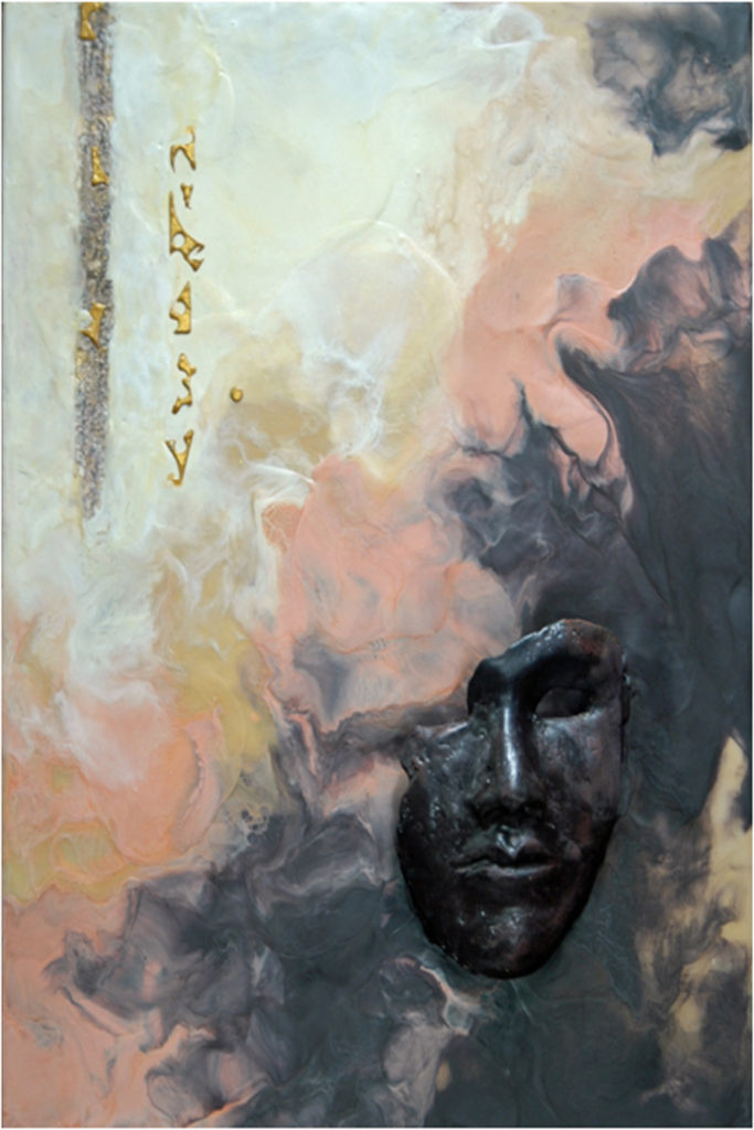 SECOND PLACE: The Message, Encaustic by Sally Rhone-Kubarek, 24in x 16in, $400 (April 2018)
