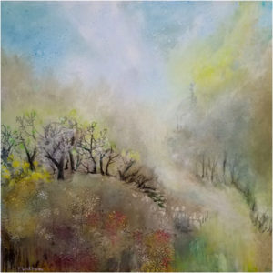 Tranquility Hill, Mixed Media by Peggy Wickham, 30in x 30in, $750 (April 2018)