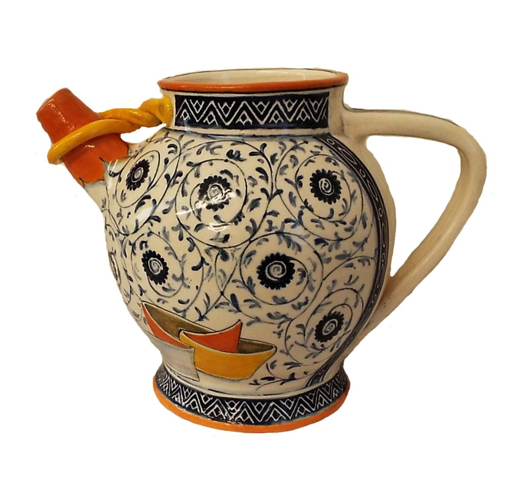 HONORABLE MENTION: Wine Pitcher, Ceramic by Geetha Kumar, 7in x 9in x 6in, $125 (April 2018)