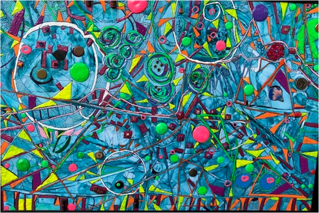 HONORABLE MENTION: Eternity, Mixed Media, Melted Crayons,Acrlics, Inks by Sara Gondwe, 20in x 30in, $350 (September 2019)
