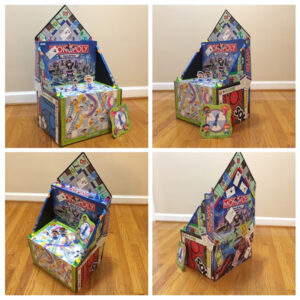 Throne of Games, Collage, Mixed Media by Elizabeth Shumate, 16in x 29in x13in, $195 (September 2019)
