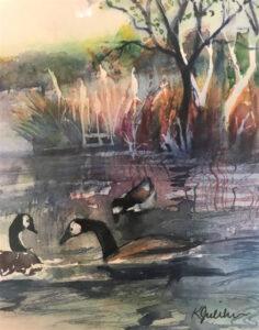 Canadian Geese, Watercolor by Karen Julihn, 14in x 11in, $125 (Feb-May 2020 CBTC)