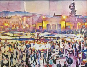 El Fna-Marrakesh, Digital Art by Matt Williams, 8.5in x 11in, $85 (Feb-May 2020 CBTC)