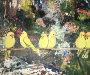 Birds Over Water, Mixed Media by Becky Simmon, $100. (Aug. 2020-Jan. 2021 CBTC)