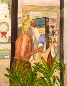 Window Shopper, Watercolor by Taylor Cullar, $100 (Aug. 2020-Jan. 2021 CBTC)