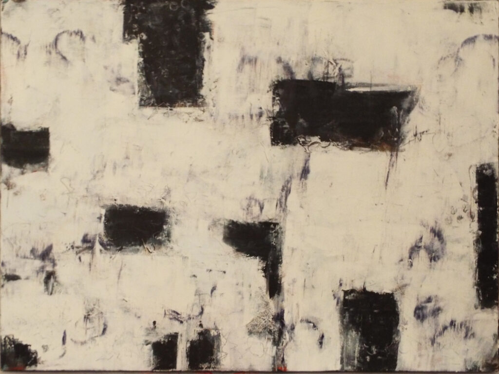 HONORABLE MENTION: Black Memories, Cold Wax & Oil by Bob Worthy, 18in x 24in, $400 (September 2020)