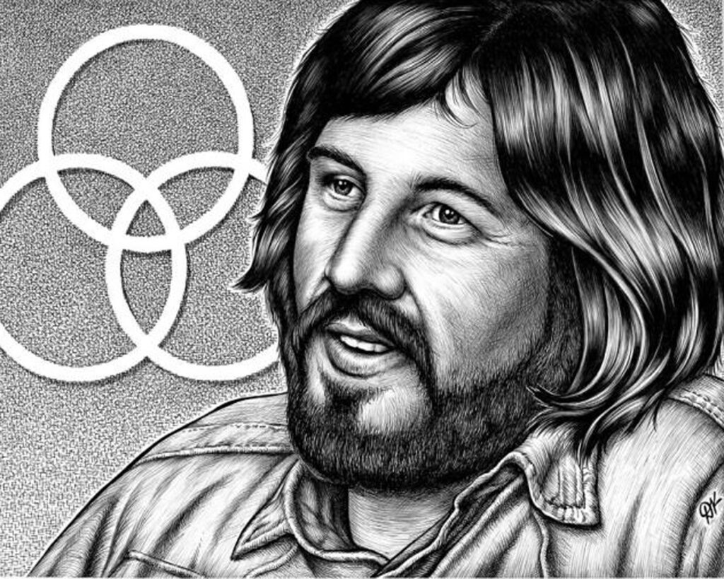HONORABLE MENTION: John Bonham, Ball Point Ink on Paper by David Kennedy, 16in x 20in, $150 (September 2020)