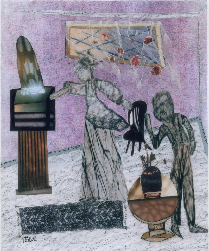HONORABLE MENTION: A Disagreement, Mixed Media Collage by Teresa Blatt, 12in x 10in, $240 (October 2020)