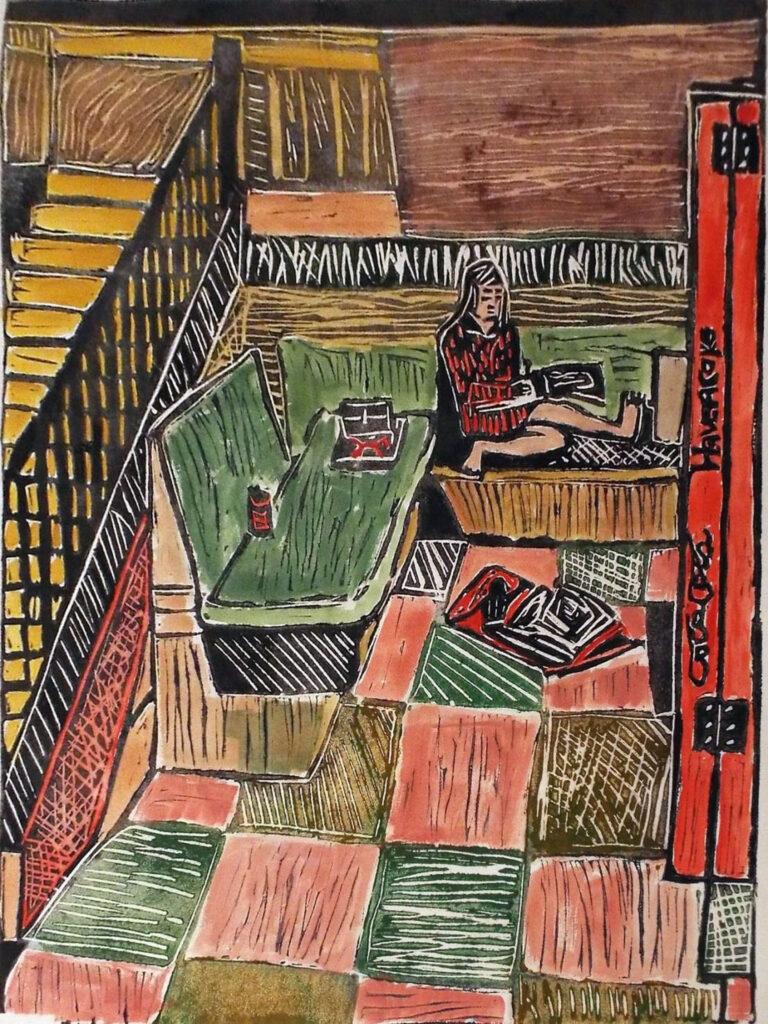 HONORABLE MENTION: Art School Hallway, Lino Cut by Linda Larochelle, 24in x 18in, $350 (October 2020)