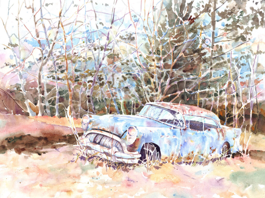 HONORABLE MENTION: Mo's 55, Watercolor by Kit Paulsen, 18in x 24in, $800 (October 2020)