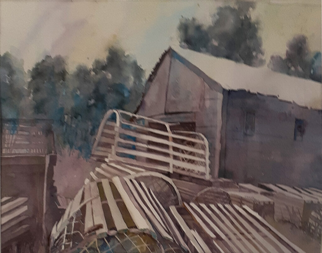 """HONORABLE MENTION: """"Used ta'be"""" Lobstering, Watercolor by Amanda Lee, 13in x 16.5in, $250 (October 2020)"""