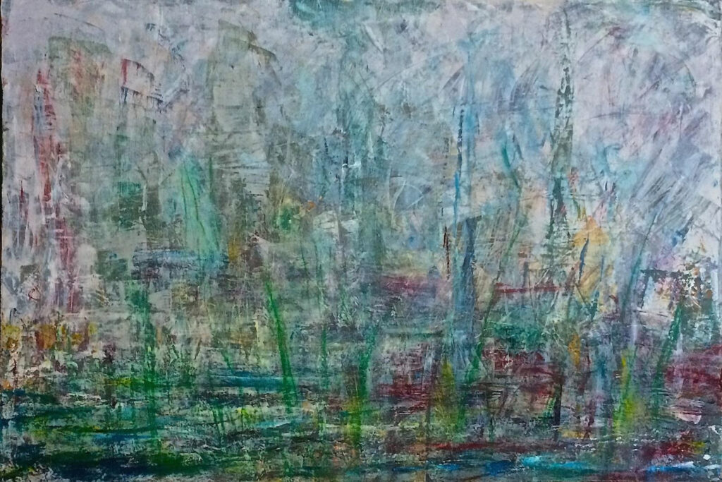 HONORABLE MENTION: Mountain Fog, Cold Wax and Oil on Canvas by Elizabeth Shumate, 20in x 30in, $775 (November 2020)