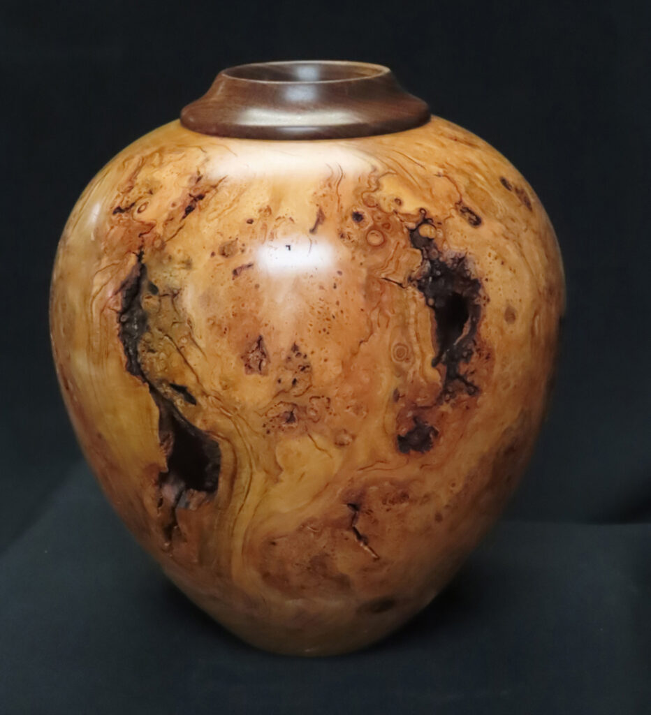 THIRD PLACE: Ravages of Time, Cherry Burl Woodcraft Vessel by Steve Schwartz, 7in dia.x 11.5in, $250 (November 2020)