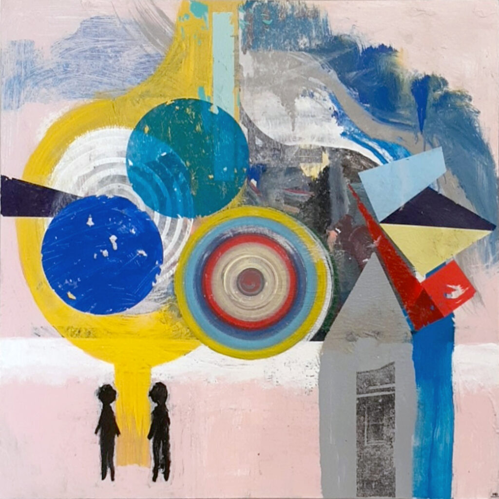 HONORABLE MENTION: Social Distance, Mixed Media by Michael Broadway, 24in x 24in, $200 (November 2020)