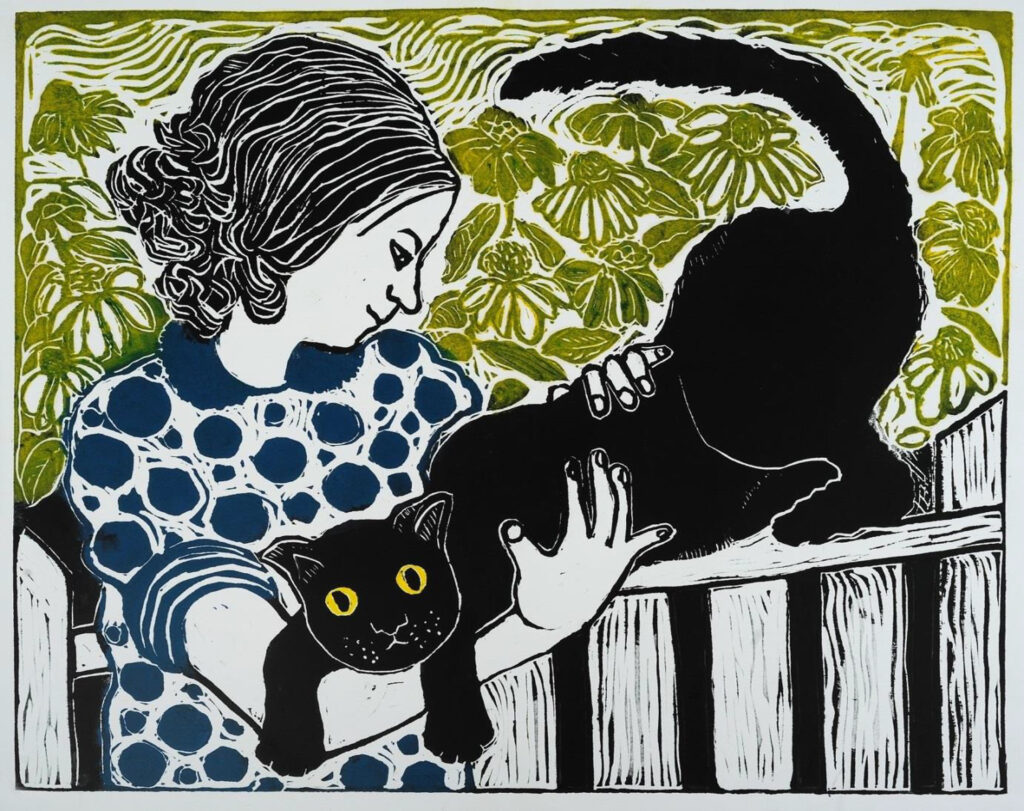 HONORABLE MENTION: Easy Does It, Linocut by Linda LaRochelle, 19in x 24in, $395 (Dec. 2020 - Jan. 2021)