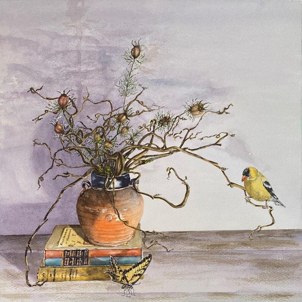 HONORABLE MENTION: Nigella's Seeds 1, Watercolor by Susan Wyatt, 15in x 15in, $325 (Dec. 2020 - Jan. 2021)