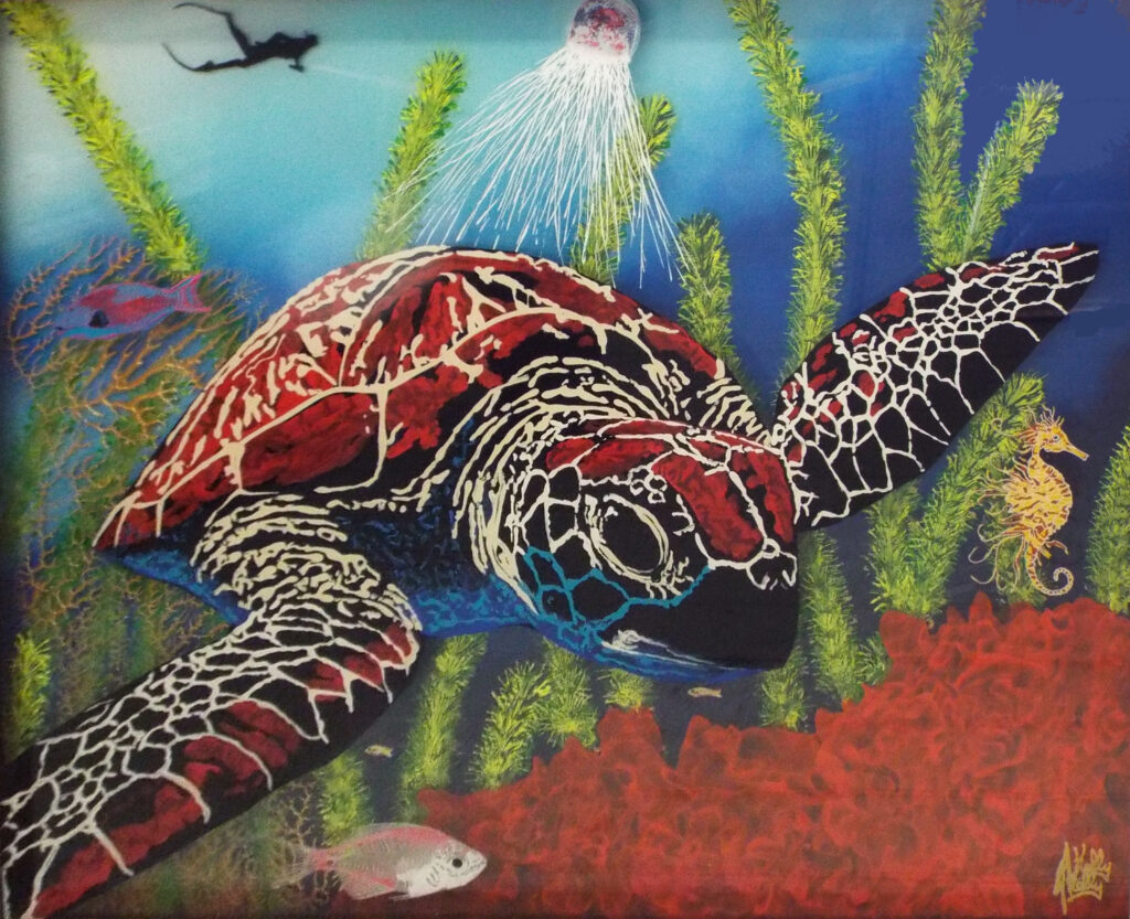 Tranquility, Acrylic on Glass by Jason Kelly, 30.5in x 37.5in. $3500 (Dec. 2020 - Jan. 2021)