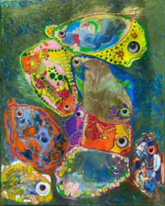 Conference of Fish, Melted Crayons and Acrylics by Sara Gondwe, 20in x 16in, $325 (March 2021)