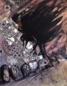 Corona Raven, Acrylic by Ramona Weaver, 18in x 14in, $500 (March 2021)