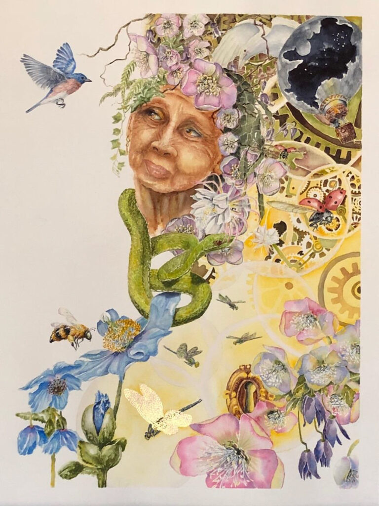 HONORABLE MENTION: Crone II, Watercolor, Pen & ink, Gold by Susan Wyatt, 24in x 18in, $425 (March 2021)