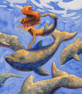 Dolphins and Mermaid, Watercolor by Marianna Smith, 12.5in x 11in, $520 (March 2021)