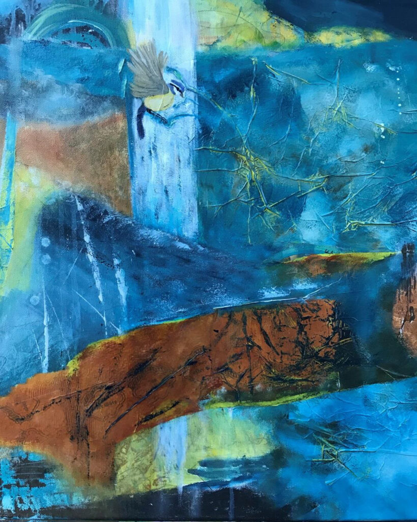HONORABLE MENTION: Hope Springs Eternal, Mixed Media by Bev Bley, 20in x 16in, $400 (March 2021)