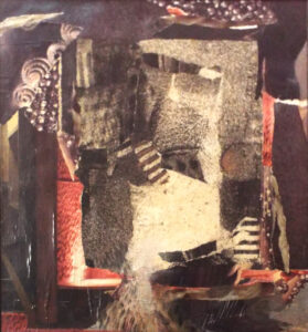 Old World City, Collage and Mixed Media by Christine Long, 14in x 13in, $450 (March 2021)