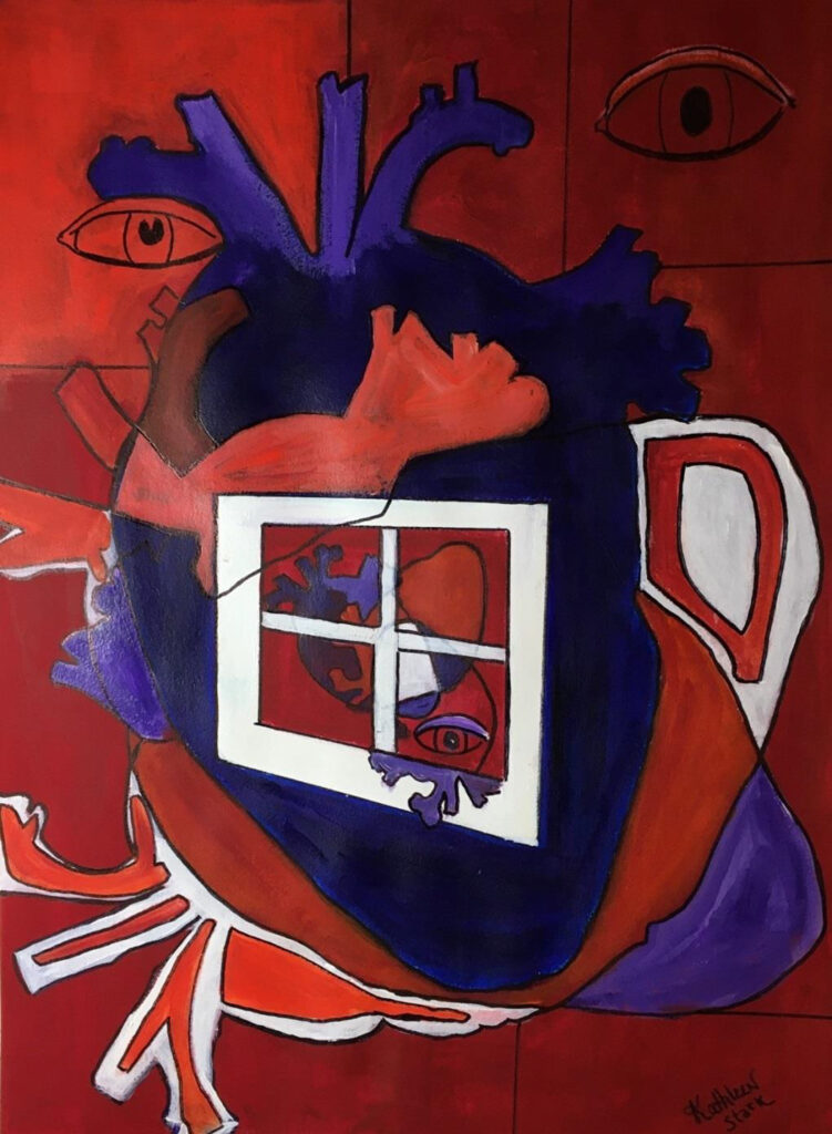 HONORABLE MENTION: Open Heart II, Acrylic on Paper by Kathleen Stark, 30in x 22in, $800 (March 2021)