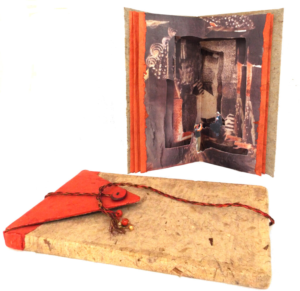 THIRD PLACE: Sisters, Book Arts-Collage by Christine Long, 13in x 13in, $375 (March 2021)