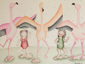 Tap Dancing Flamingos, Colored Pencils by Beka Wueste, 18in x 24in, NFS (March 2021)