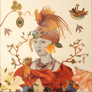 The Queen of May, Collage by Kay L. Roscoe, 12in x 12in, $150 (March 2021)
