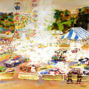 Fire at the Demolition Derby, Watercolor by Kit Paulsen, 20in x 20in, $650 (April 2021)