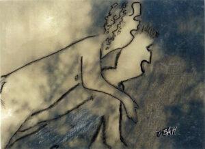 In the Dark, Inked Photograph Pareidolia by Teresa Blatt, 4in x 5.5in, $150 (April 2021)