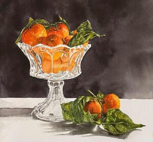 Satsuma Glow 1, Watercolor by Susan Wyatt, 13in x 14in, $425 (April 2021)
