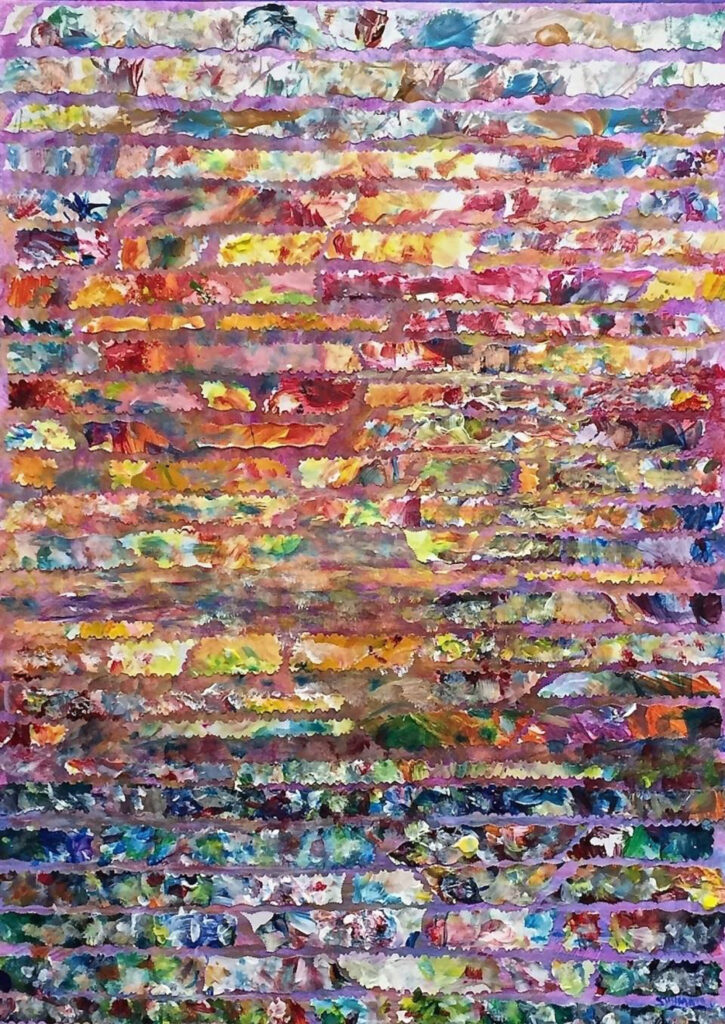 HONORABLE MENTION: Sunrise Over the Hampton Roads, Mixed Median & Collage by Elizabeth Shumate, 24in x 17in, $575 (April 2021)