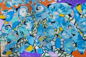 What Path Should We Choose, Melted Crayons & Acrylic by Sara Gondwe, 20in x 30in, $450 (April 2021)