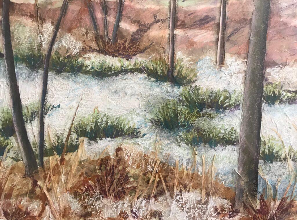 Frozen Pond, work by Karen Julihn, 18x25, $500