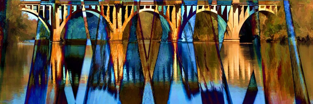 HONORABLE MENTION: Amber and Blue, Digital Creation by Carolyn R. Beever, 11in x 27in, $200 (September 2021)