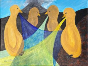 Birds Nets, Acrylic by R. Taylor Cullar, 12in x 16in, $84 (September 2021)
